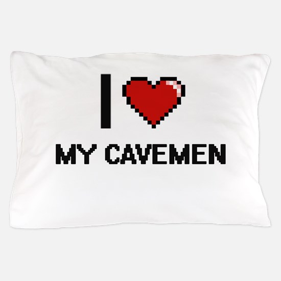 I love My Cavemen digital design Pillow Case