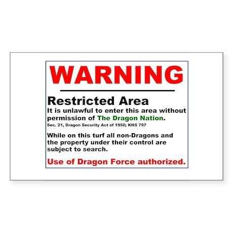 Dragon Force Warning Rectangle Sticker
