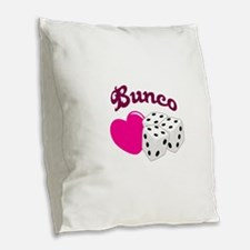 I LOVE BUNCO Burlap Throw Pillow