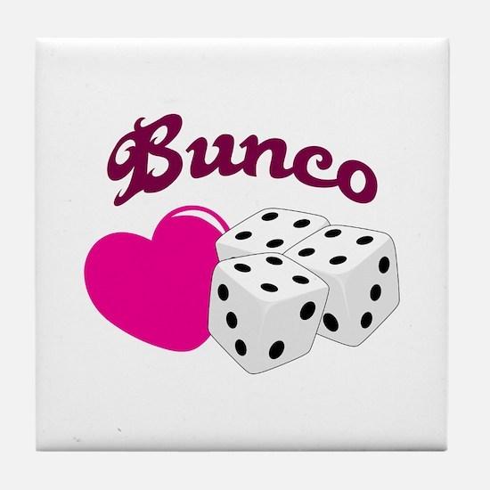 I LOVE BUNCO Tile Coaster