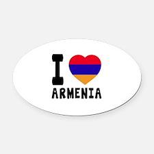 I Love Armenia Oval Car Magnet