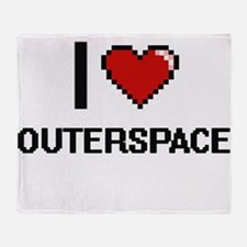 I love Outerspace digital design Throw Blanket