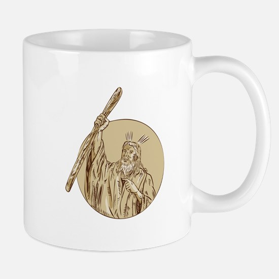 Moses Raising Staff Circle Etching Mugs