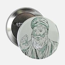 "Sikh Guru Priest Waving Etching 2.25"" Button (10 p"