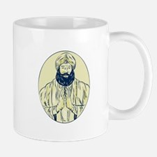 Sikh Priest Praying Front Oval Etching Mugs