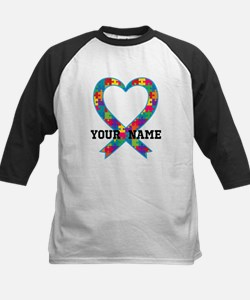Autism Ribbon Heart Personalized Baseball Jersey
