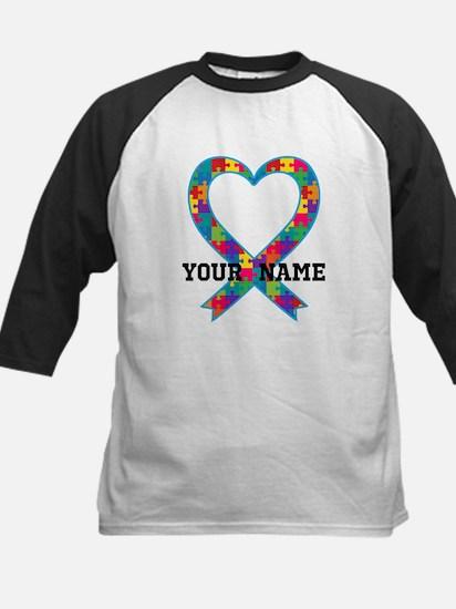 Autism Ribbon Heart Personalized Baseball Jersey