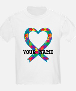 Autism Ribbon Heart Personalized T-Shirt