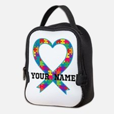 Autism Ribbon Heart Personalized Neoprene Lunch Ba