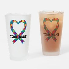 Autism Ribbon Heart Personalized Drinking Glass