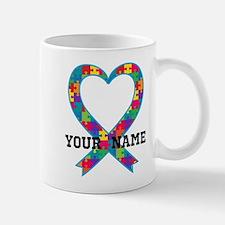 Autism Ribbon Heart Personalized Mugs