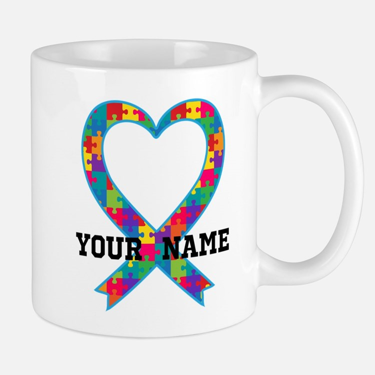 Autism Ribbon Heart Personalized Mugs