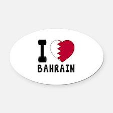 I Love Bahrain Oval Car Magnet