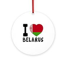 I Love Belarus Round Ornament