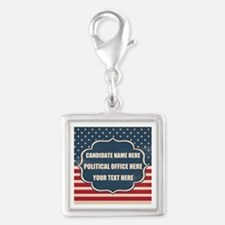 Personalized USA President Silver Square Charm