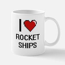 I love Rocket Ships digital design Mugs