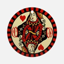 Queen Of Hearts Round Ornament