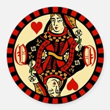 Queen Of Hearts Round Car Magnet