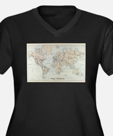 Vintage Map of The World (1875) Plus Size T-Shirt