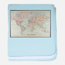 Vintage Map of The World (1875) baby blanket
