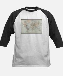 Vintage Map of The World (1875) Baseball Jersey