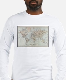 Vintage Map of The World (1875 Long Sleeve T-Shirt