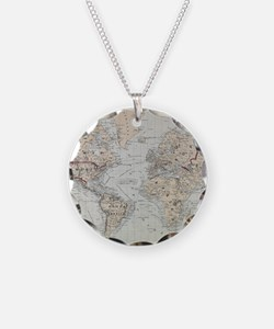 Vintage Map of The World (18 Necklace
