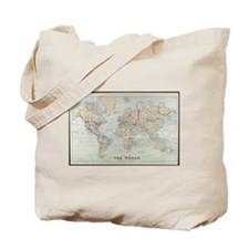 Vintage Map of The World (1875) Tote Bag