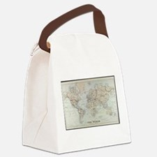 Vintage Map of The World (1875) Canvas Lunch Bag
