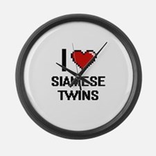 I love Siamese Twins digital desi Large Wall Clock