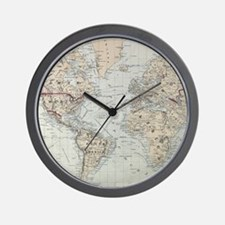 Vintage Map of The World (1875) Wall Clock