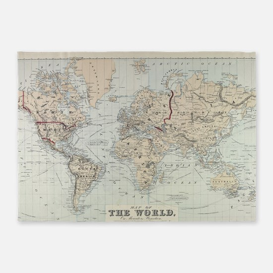 Vintage Map of The World (1875) 5'x7'Area Rug