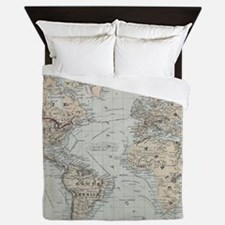 Vintage Map of The World (1875) Queen Duvet