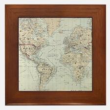 Vintage Map of The World (1875) Framed Tile