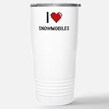 I love Snowmobiles digi Stainless Steel Travel Mug