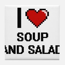 I love Soup And Salad digital design Tile Coaster