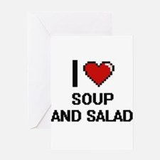 I love Soup And Salad digital desig Greeting Cards