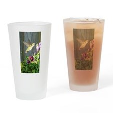 Pansy Hummingbird Drinking Glass