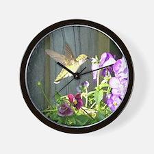 Pansy Hummingbird Wall Clock