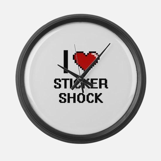 I love Sticker Shock digital desi Large Wall Clock