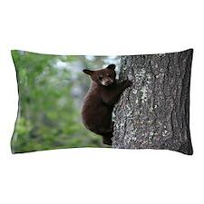 Bear Cub Climbing a Tree Pillow Case