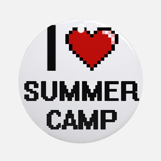 I love Summer Camp digital design Round Ornament