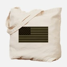 US Flag OD Patch Tote Bag