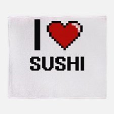 I love Sushi digital design Throw Blanket