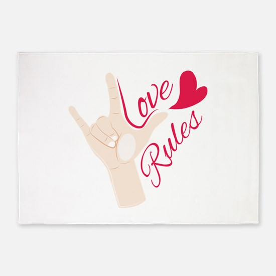 Love Rules 5'x7'Area Rug