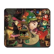 Three Friendly Halloween Witches cooking Mousepad