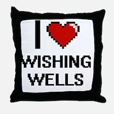 I love Wishing Wells digital design Throw Pillow