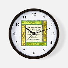 Green Geocacher Lost Mind Wall Clock