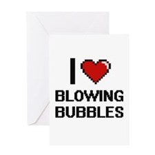 I love Blowing Bubbles digital desi Greeting Cards