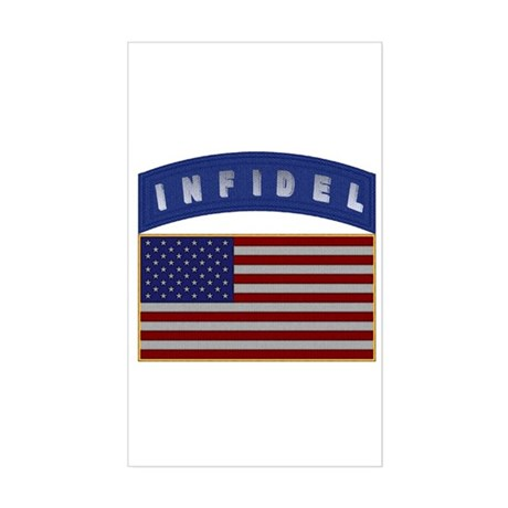 American Infidel Patch Rectangle Sticker